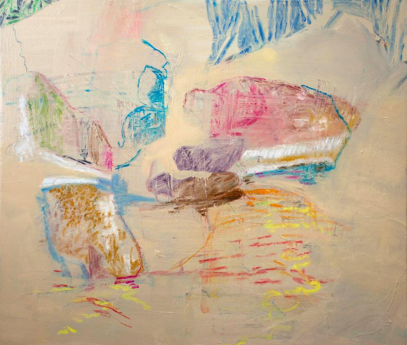 """icy creek II , 32x38"""" 2018-19 mixed media on canvas"""