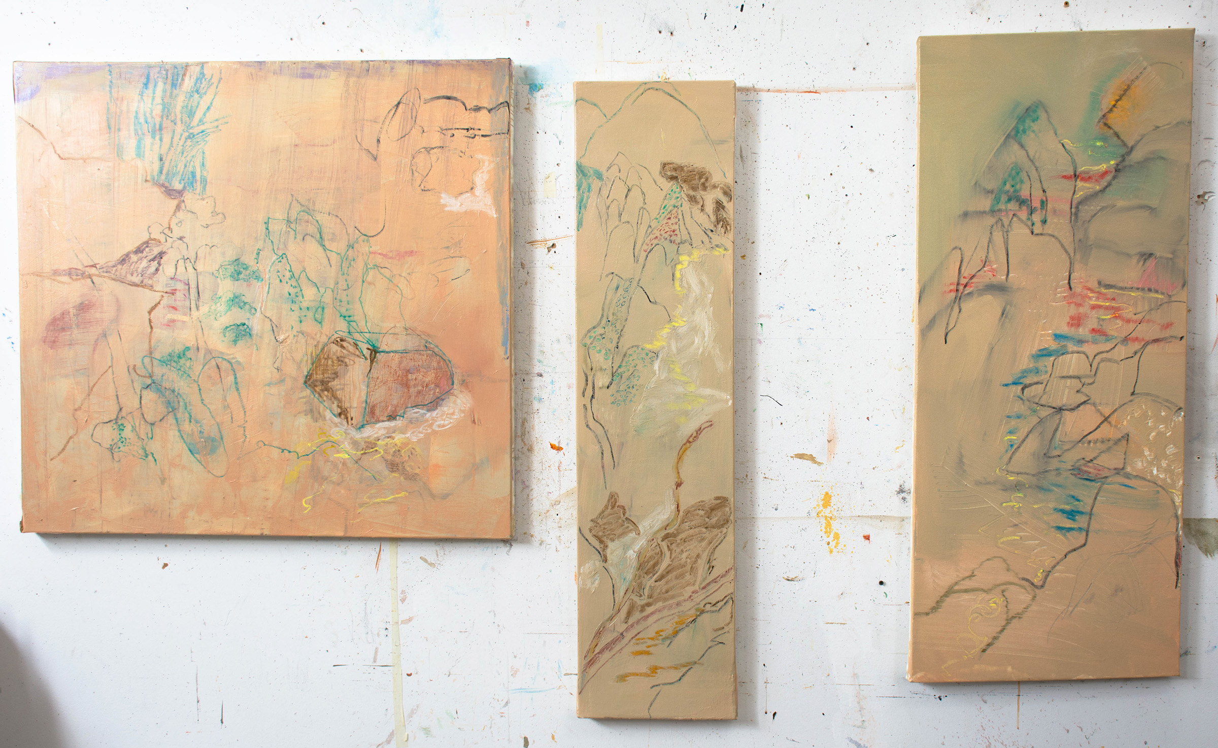 the 3 paintings i worked on today: left to right- purple rock II ,  spring creek  and  easter creek