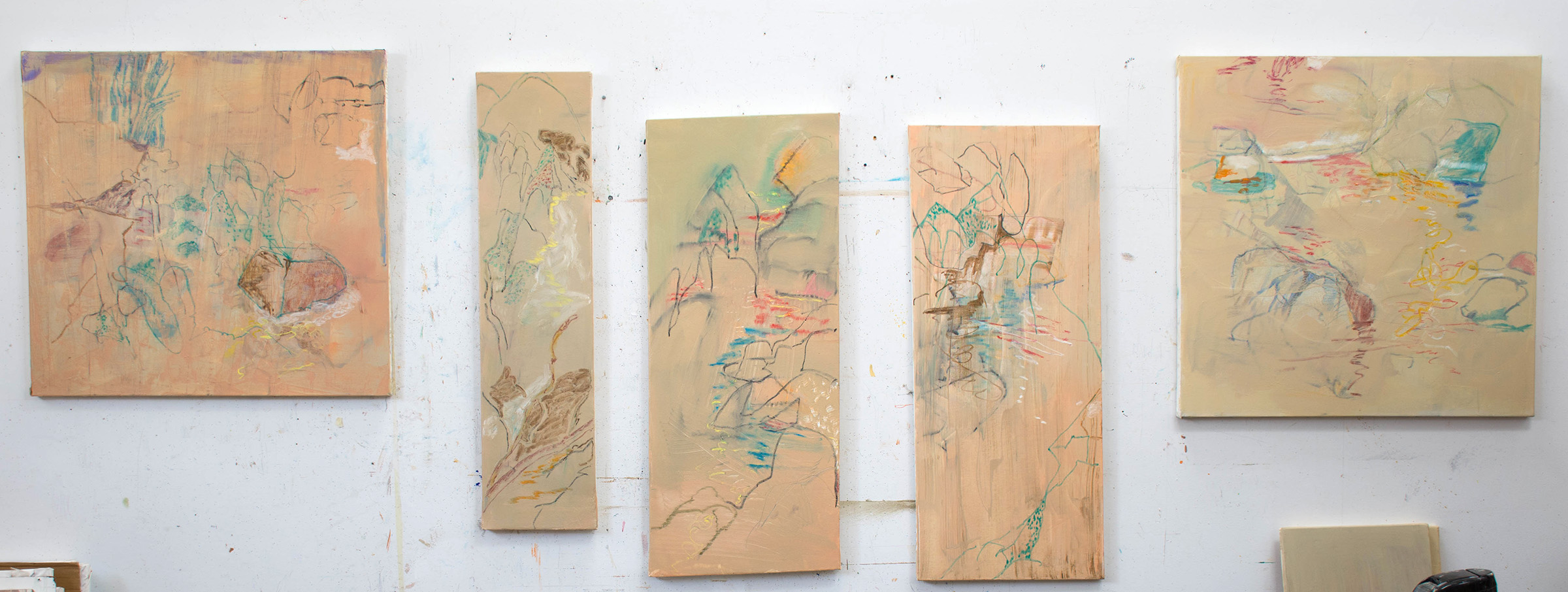 5 recent motion series paintings on my studio's east wall. the one i started today is second in from the right