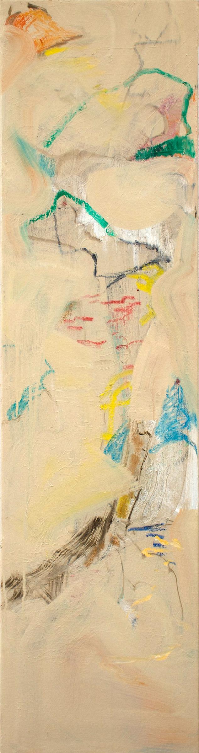 "duckbill   48 x 12"" oil & oil stick on canvas, 2019"