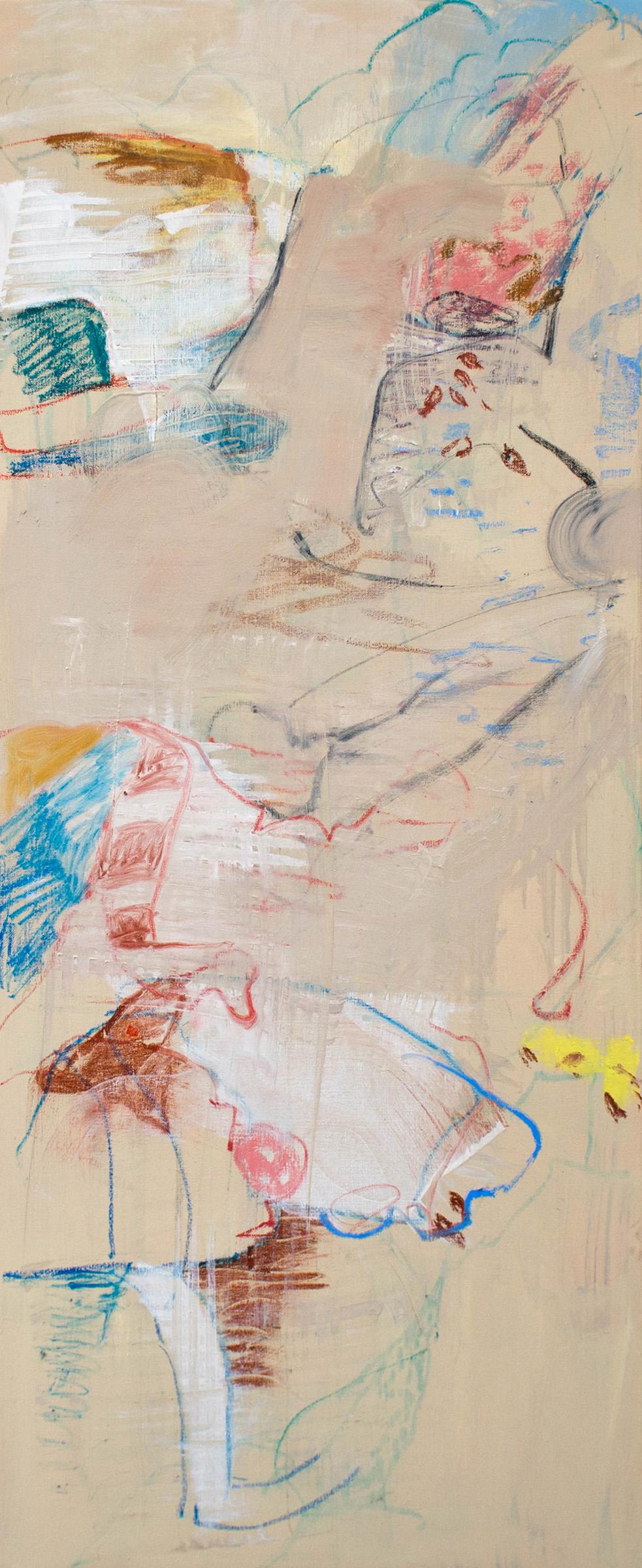 "windy creek  48 x 20"" oil & oil stick on canvas, 2019"