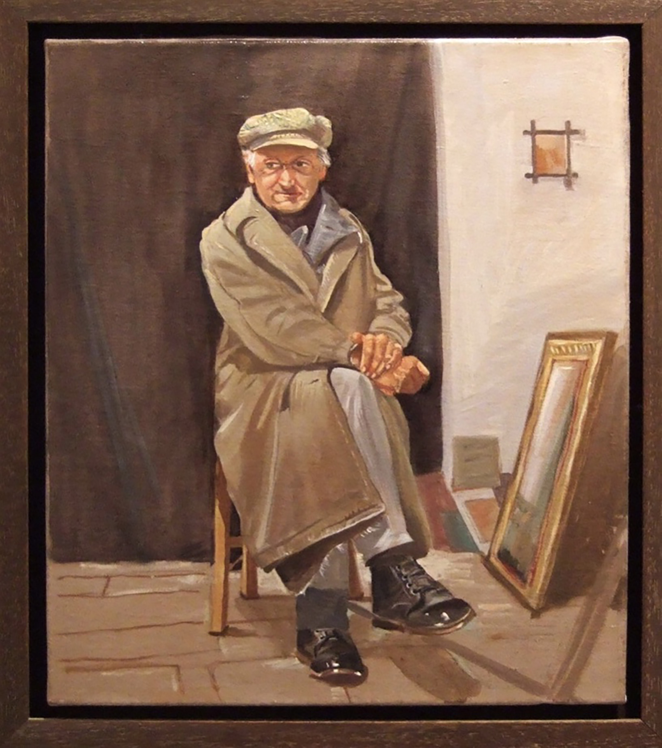 "man with black shoes  12x10"" oil on linen, 2010, private collection, athens, greece"