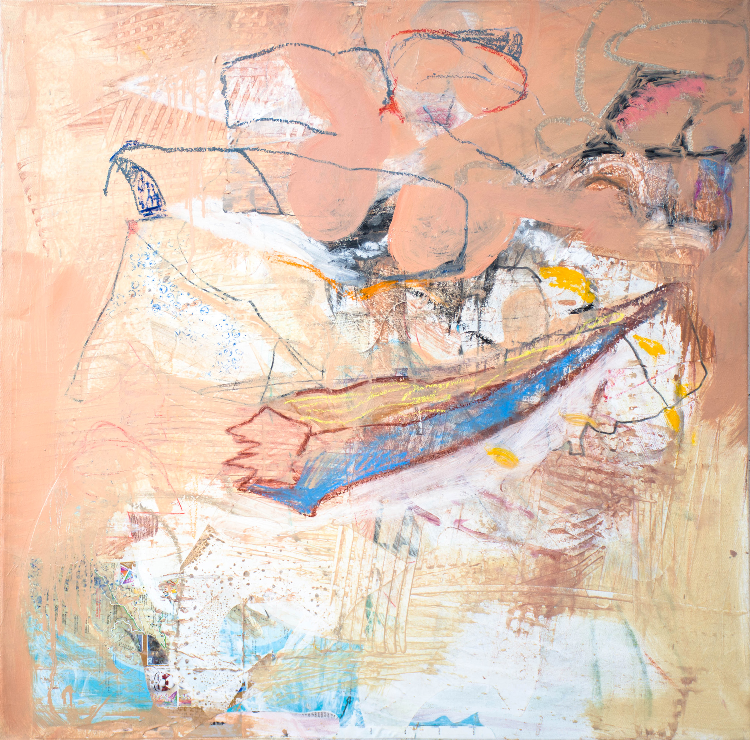 "pink creek , 32x32"" mixed media on canvas, 2017-2019"