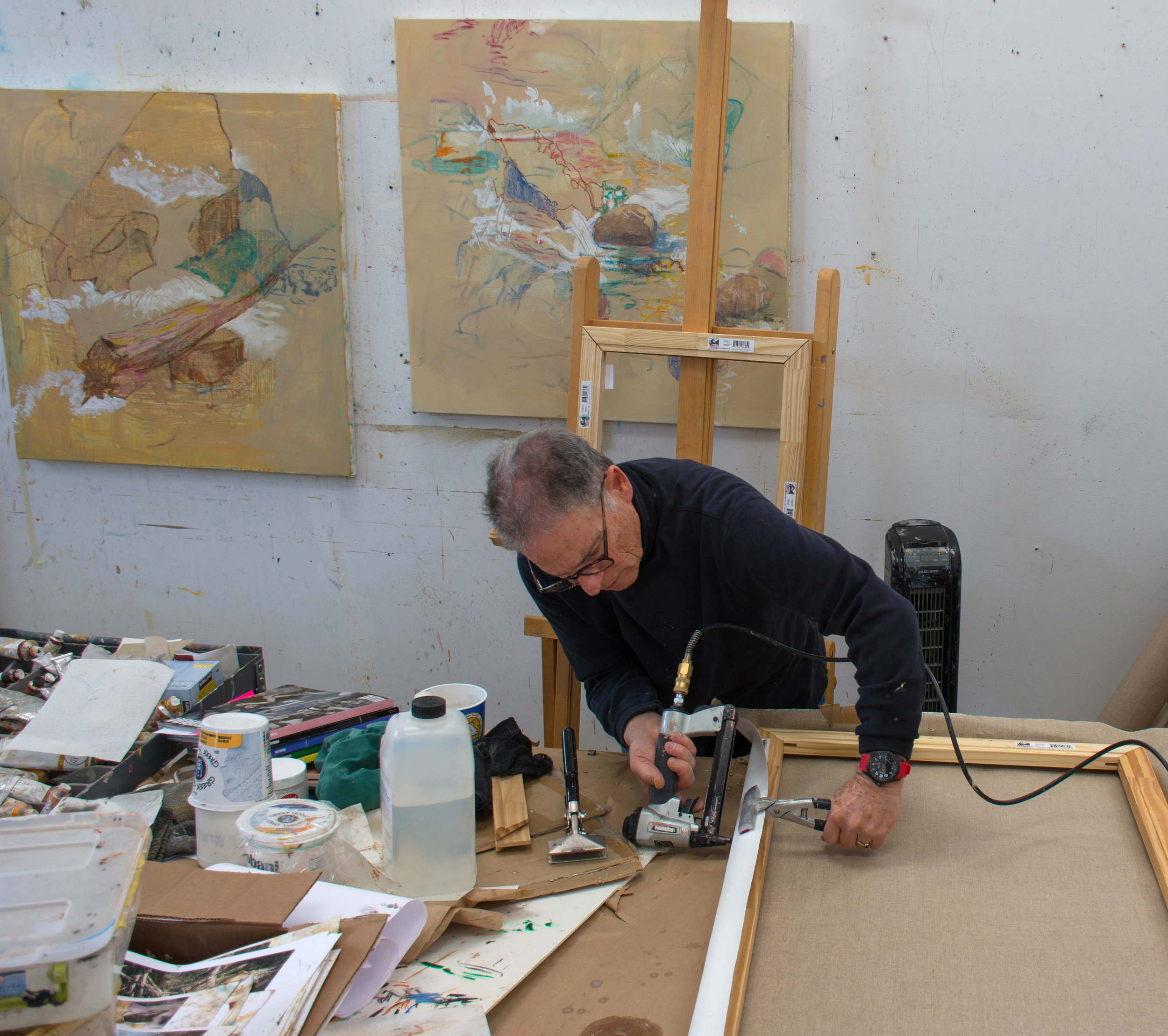 """stretching the 78x26"""" canvas this morning"""