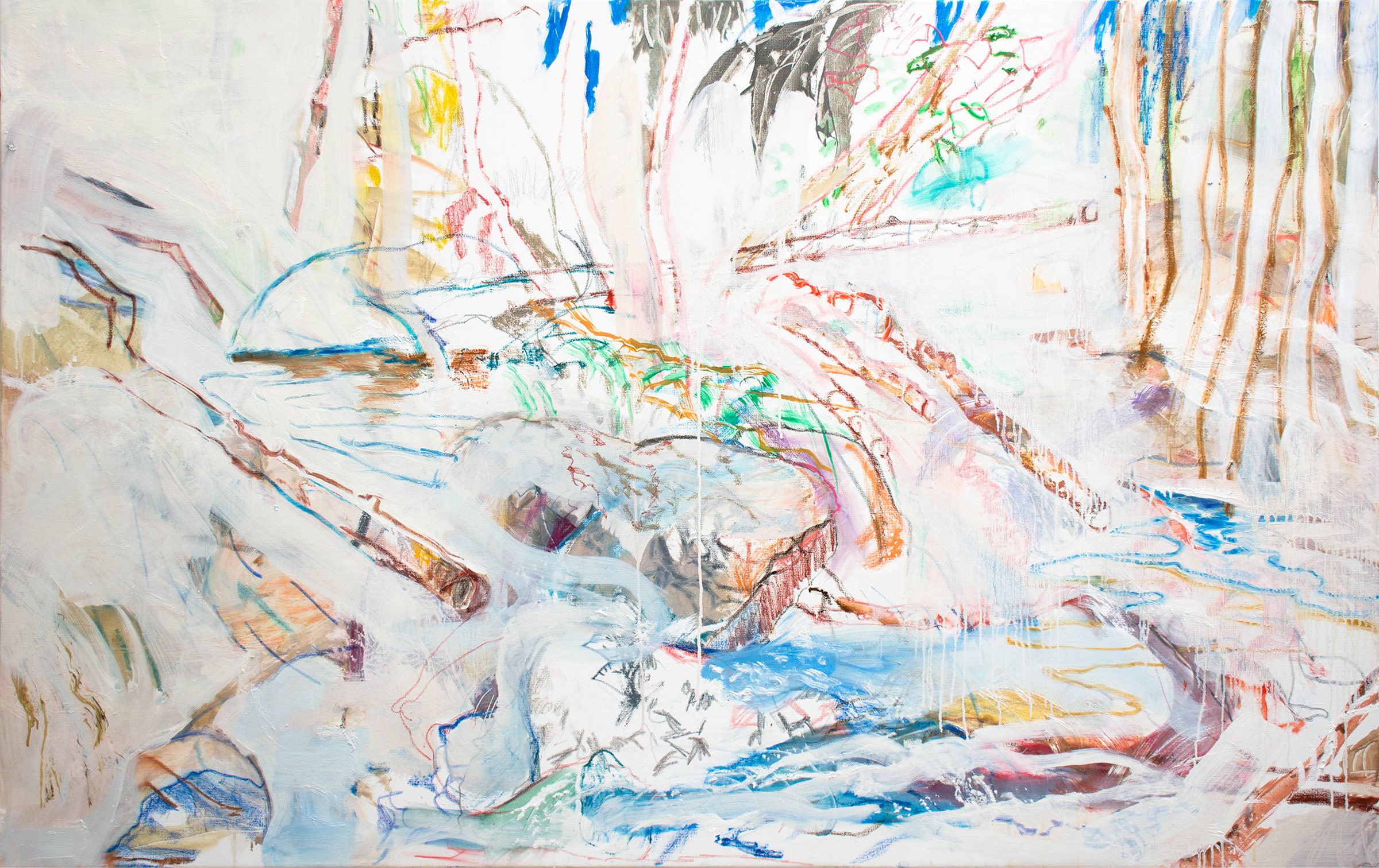 "dp creek II , 42 x 66"" oil, crayon & oil stick on linen, 2019"
