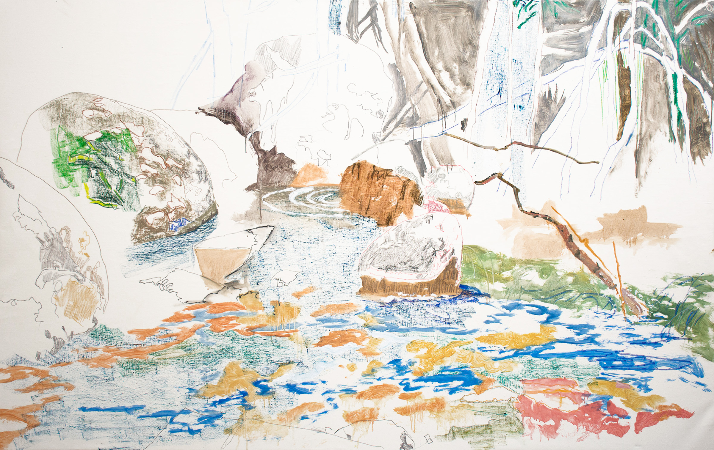 "dp creek III , 42 x 66"" oil, oil stick colored pencil on portrait linen, 2019"