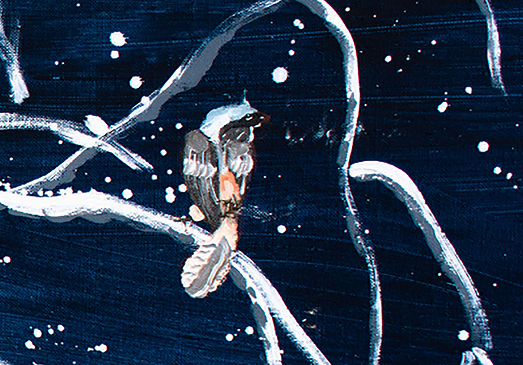 DETAIL of k's rendering of a bird on a snow covered branch