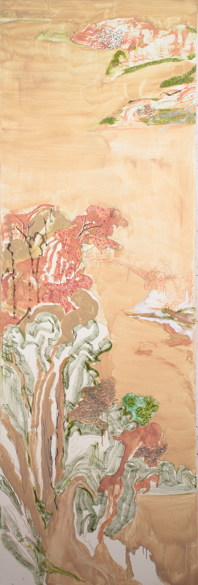 "landscape with pink trees,  78x26"" oil, colored pencil & oil stick on linen, 2019"
