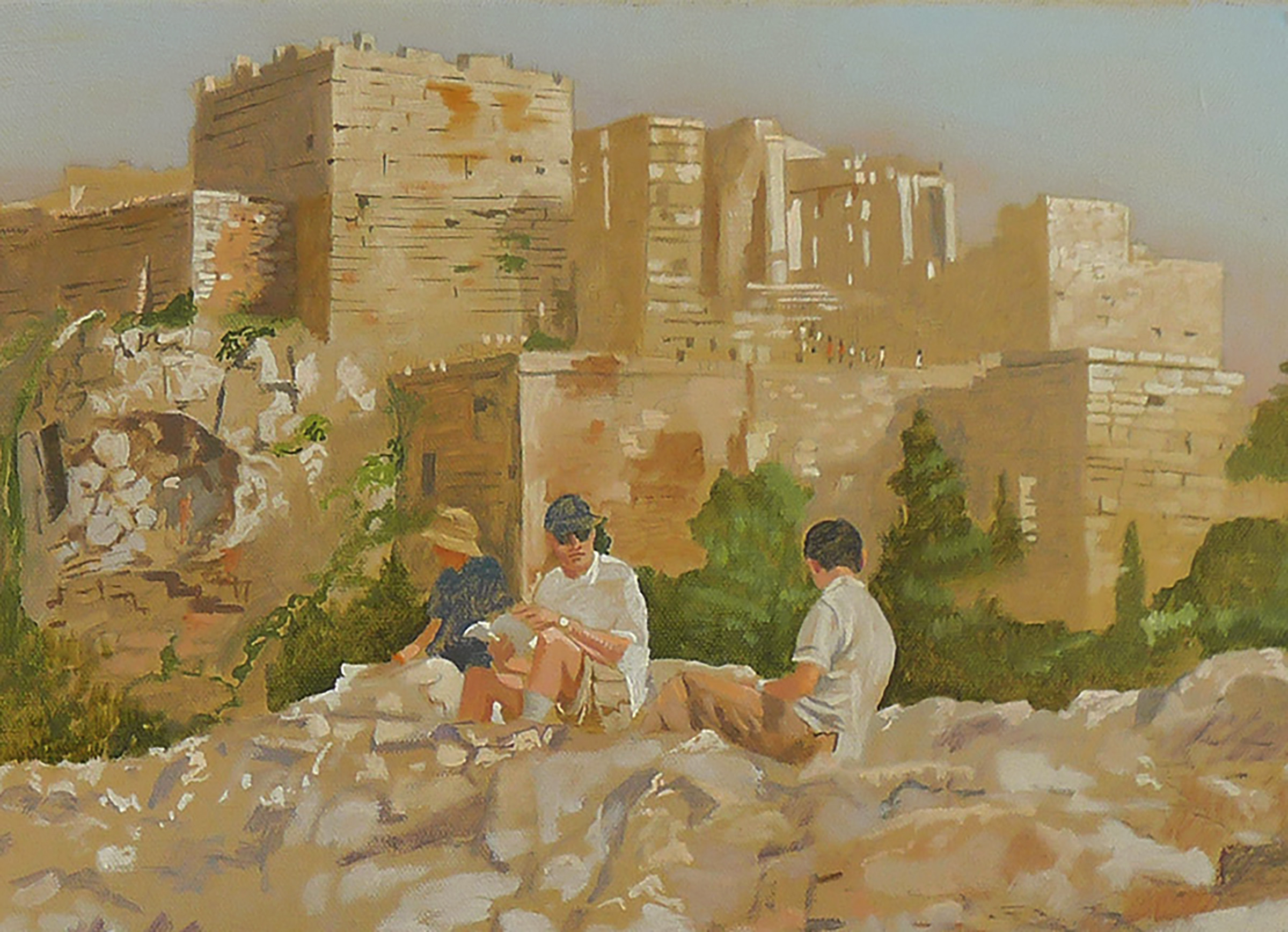 DETAIL  figures at the acropolis, oil on linen, 2006
