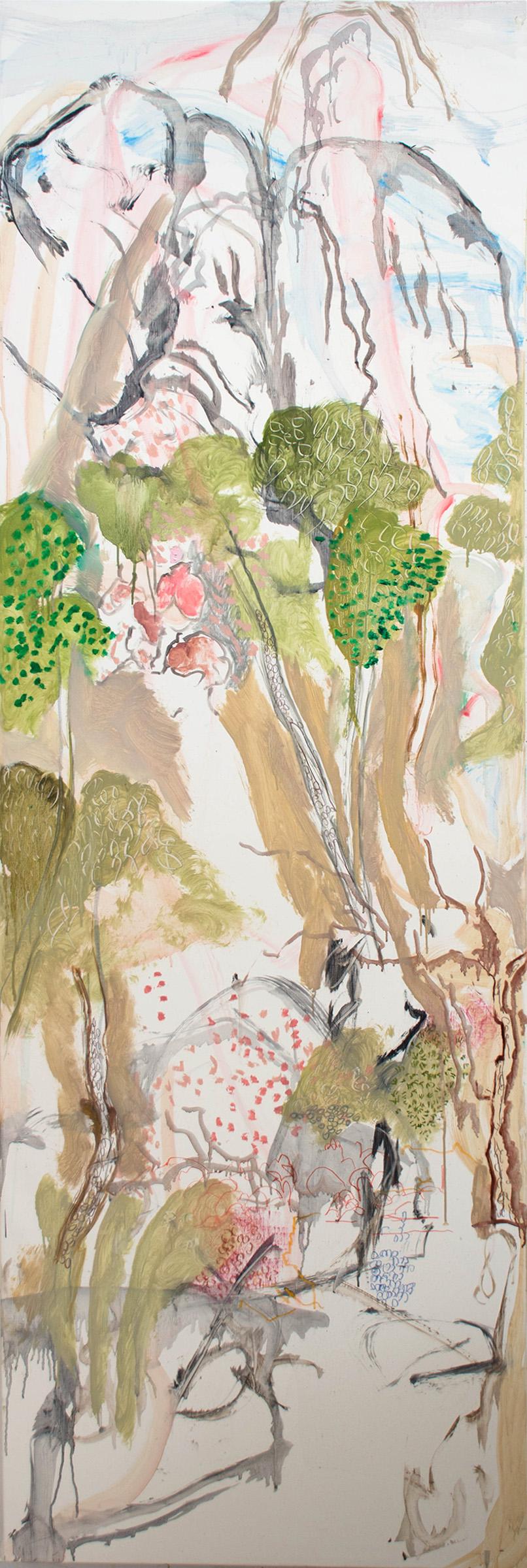 "gashu  78x26"" oil, oil stick, crayon & colored pencil on linen"