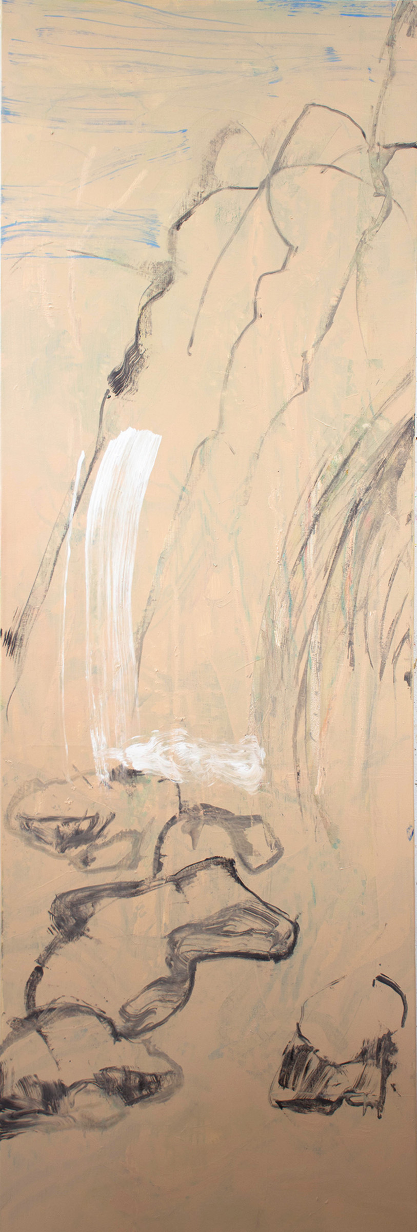 """seventh month  78x26"""" oil, colored pencil & oil stick on linen"""