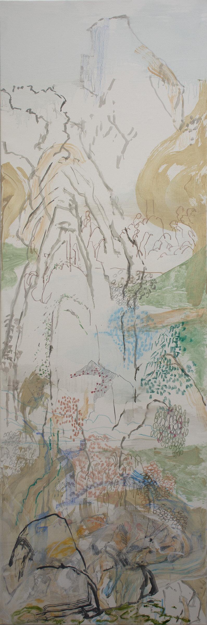 "emerald ripples,  78x26"" oil, colored pencil & oil stick on linen, 2019"