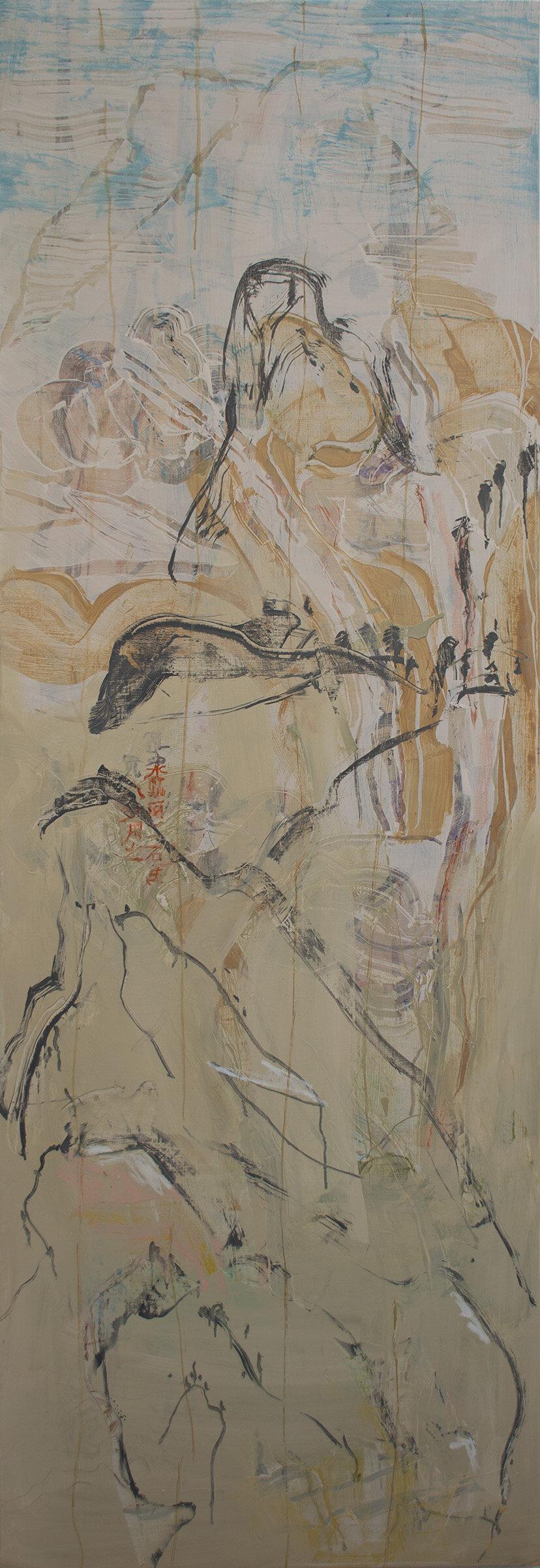 "kwazu no shosa  78x26"" oil, oil stick & colored pencil on linen, 2019"