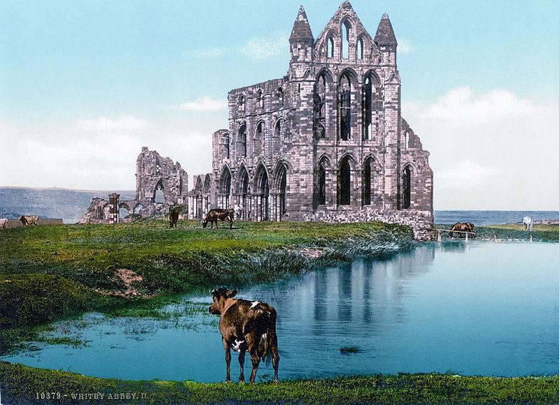 Swiss Postcard of Whitby Abbey, c. 1890-1905. Color-corrected by Jan Arkesteijn. Public Domain Via Wikimedia Commons.