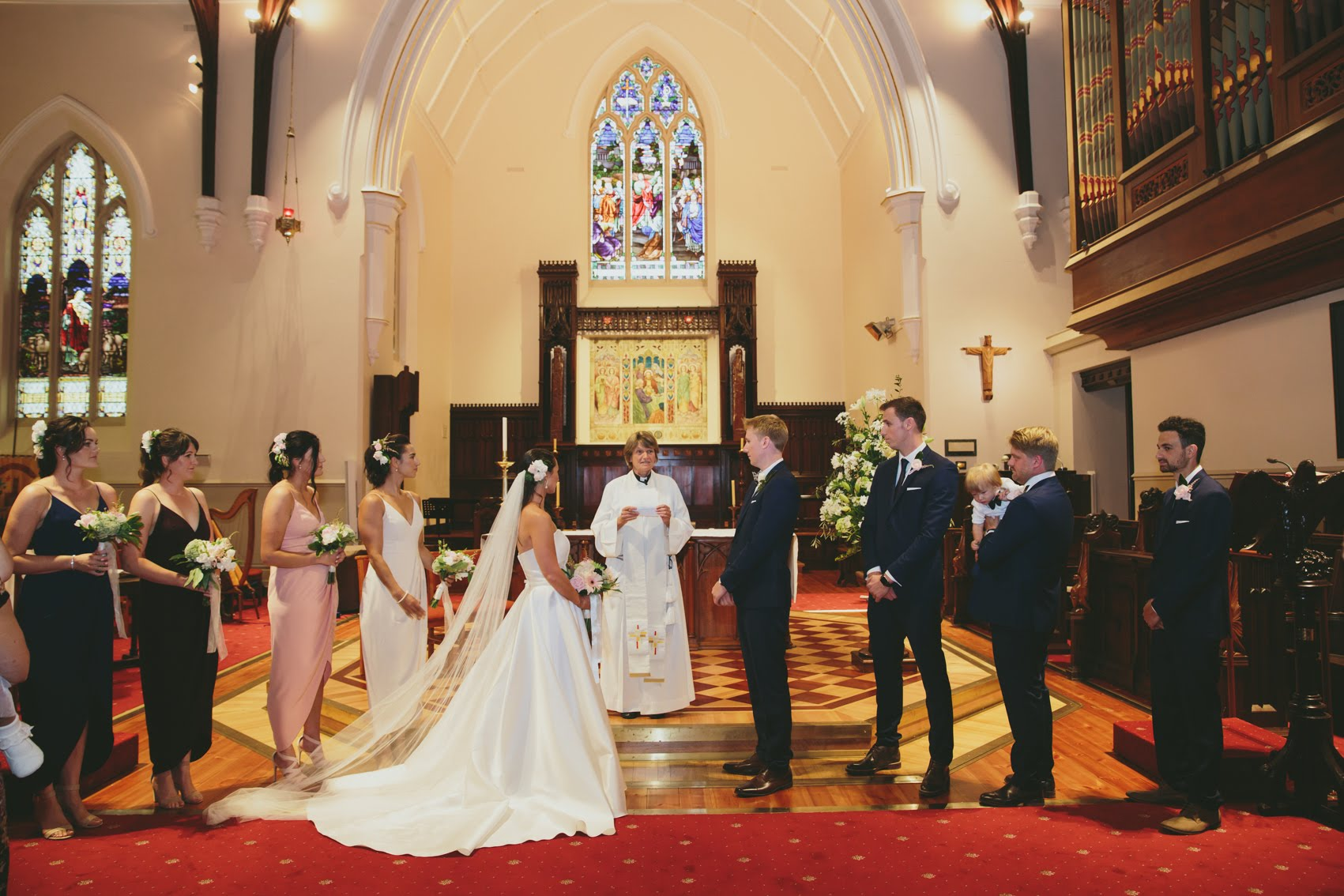 A recent wedding conducted in the beautiful, recently refurbished Cathedral in the heart of Bendigo.
