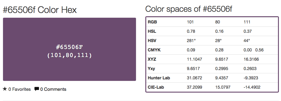 Here we see what the color looks like and the translations into other color languages.