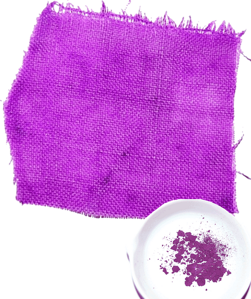 An image of the powdered dye and cloth that has been dyed with it.