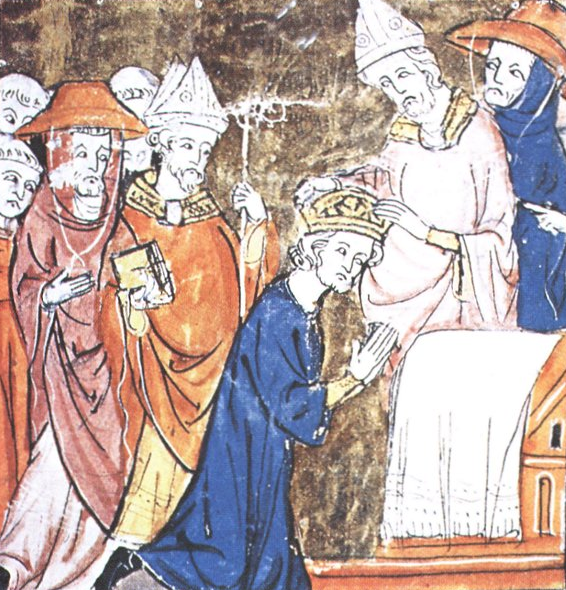 An image showing the Emperor Charlemagne's coronation by the Pope in 800: His robes were the deep tyrian purple, while the Cardinal's robes are tryian Red.