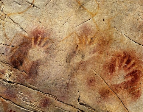 Neanderthal cave art painted using ochre.