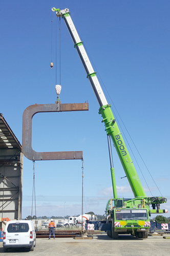 Deformation measurement of a large c-section suspended from an overhead crane.