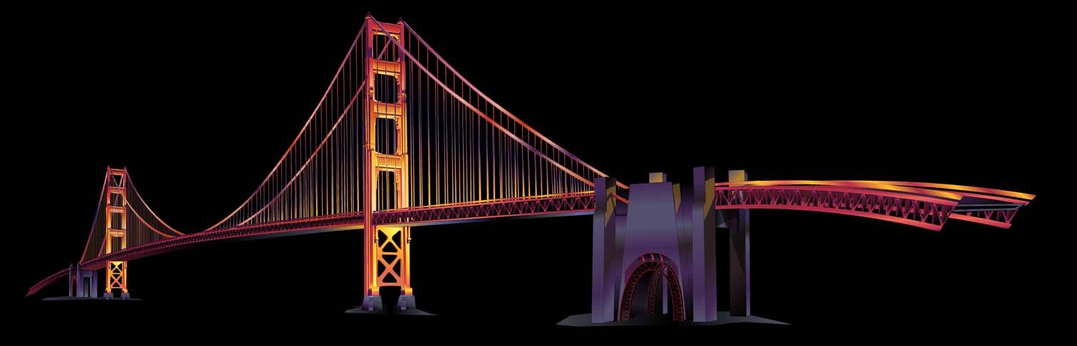 Golden Gate Stage Prop      Client: Star Buildings via Jordan Associates  Medium:   Vector Art (Adobe Illustrator)