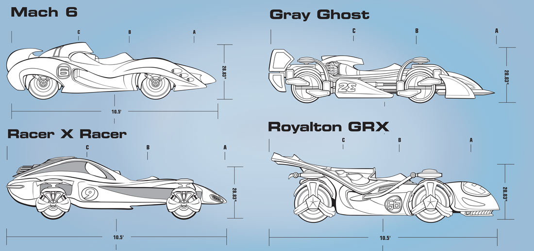 Speed Racer Movie Technical Cars       Client: Target via Blackrock Graphic Arts  Medium:   Vector Art (Adobe Illustrator)