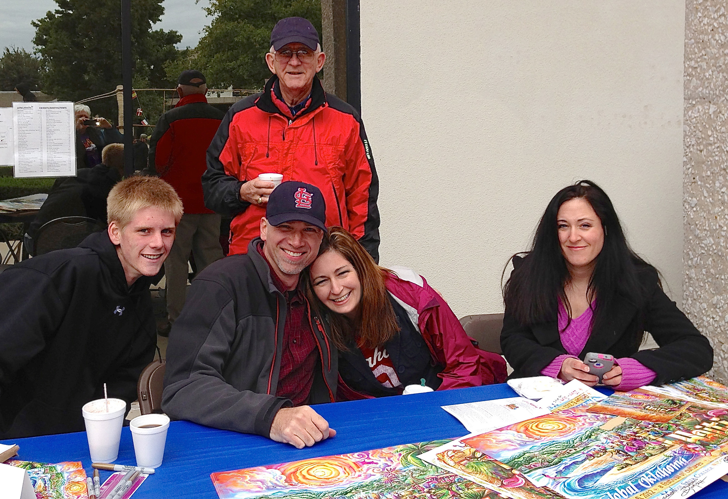 2012 Signing Booth with my girlfriend Jenna, my friend Conner at left, Jenna's Dad Dr. Kirk and her sister Julie.