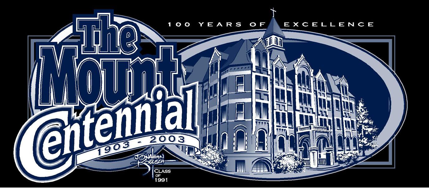 Mount Saint Mary High School     Centennial Logo and Merchandise (Mug, T-Shirt, etc)   (Illustration and Graphic Design)      Client: Mount St. Mary High School  Medium:   Vector Art (Adobe Illustrator)