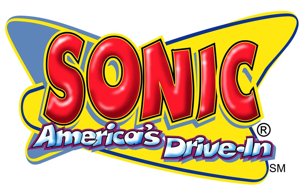 """""""Cartoony"""" Sonic Logo  A whimiscal twist on Sonic's logo, for application within fun art themes  Client:  Sonic Drive-In  Medium: Digital"""