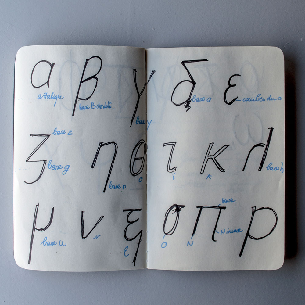 Lowercase Lekton-Greek Italic study