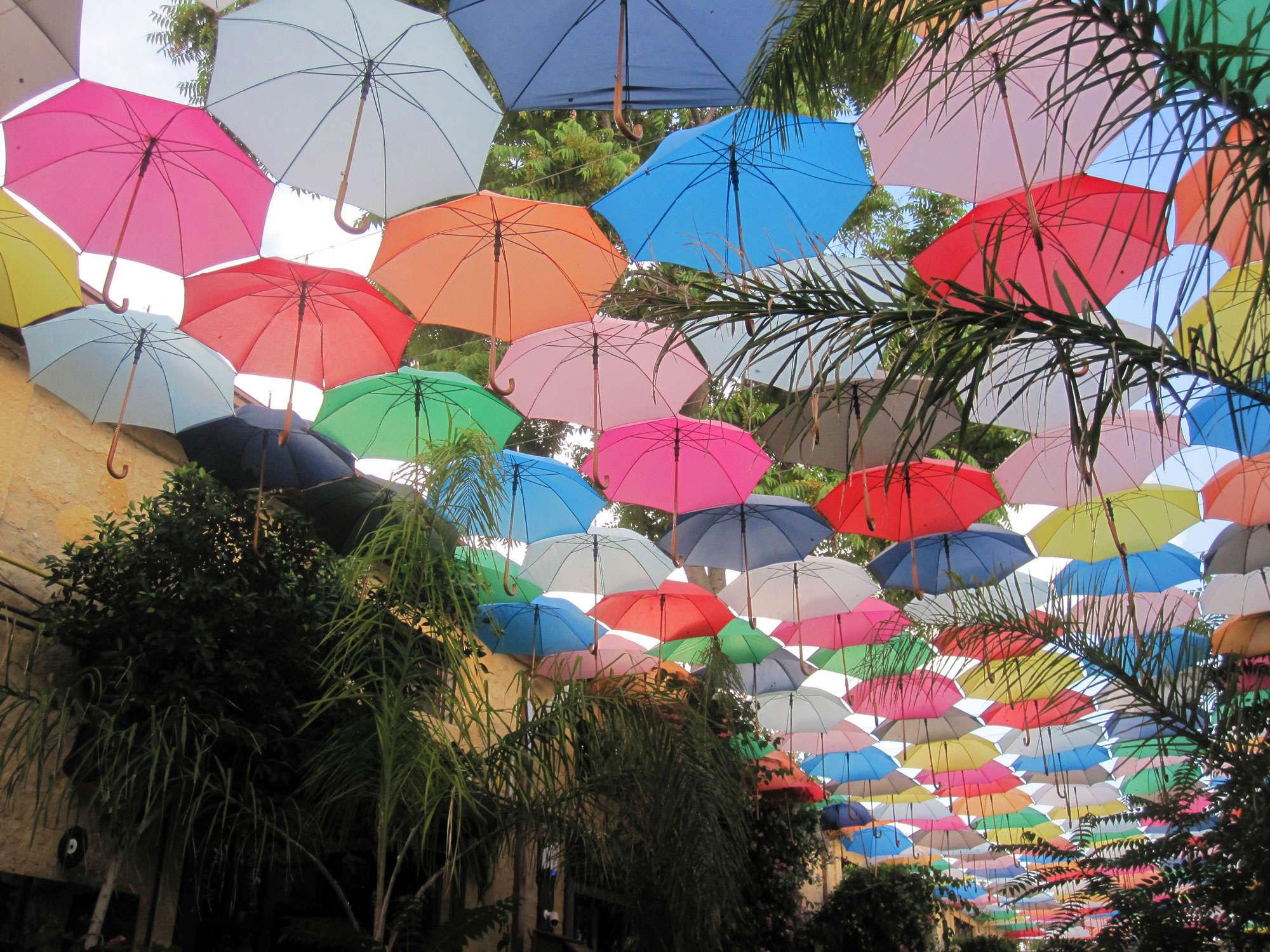 Roof of umbrellas in occupied Nicosia