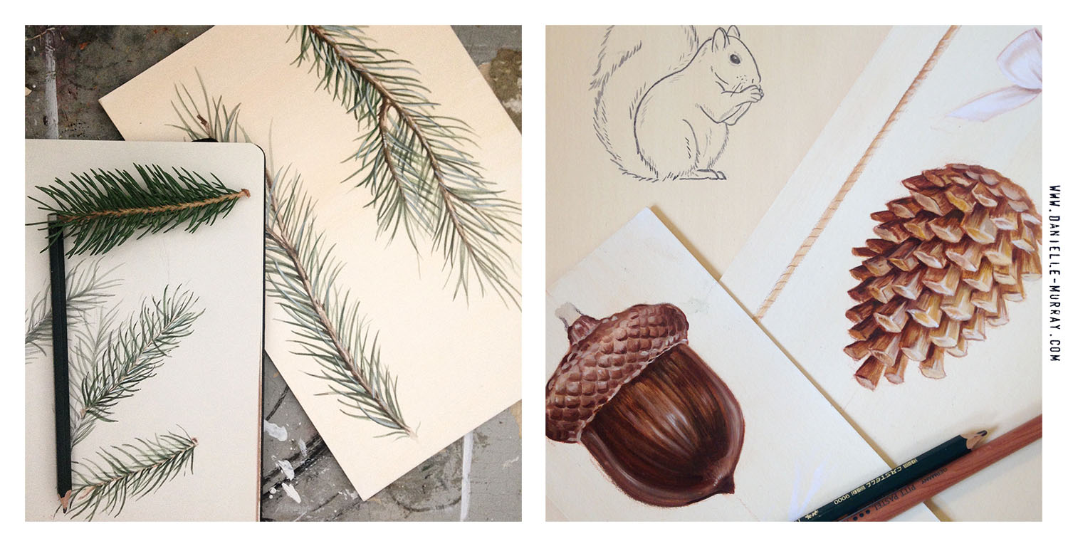 Summer 2014 : The beginning - In progress shots of some of the painted elements used to make my Holiday Woodland Collection.