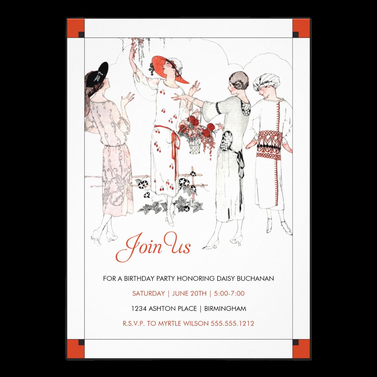 Gatsby Garden Party    5 x 7 invitation