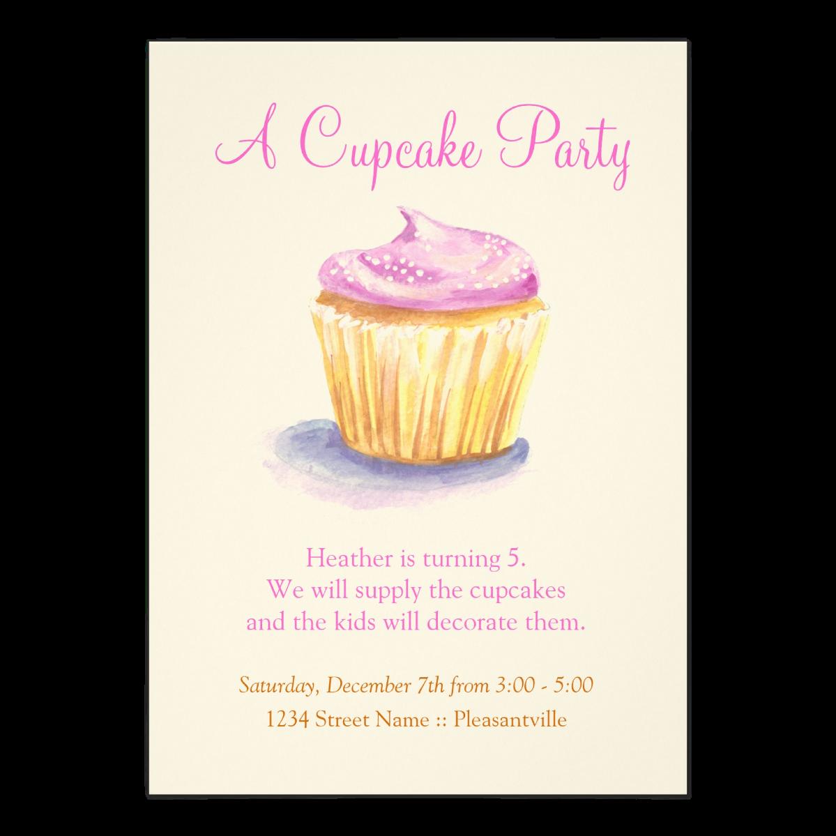 Cupcake Birthday Party   5 x 7 Invitation