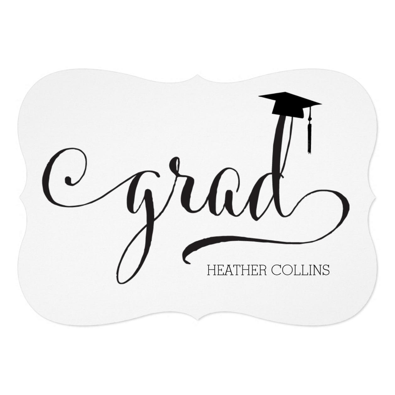2-sided Elegant Script Graduation Party Invite