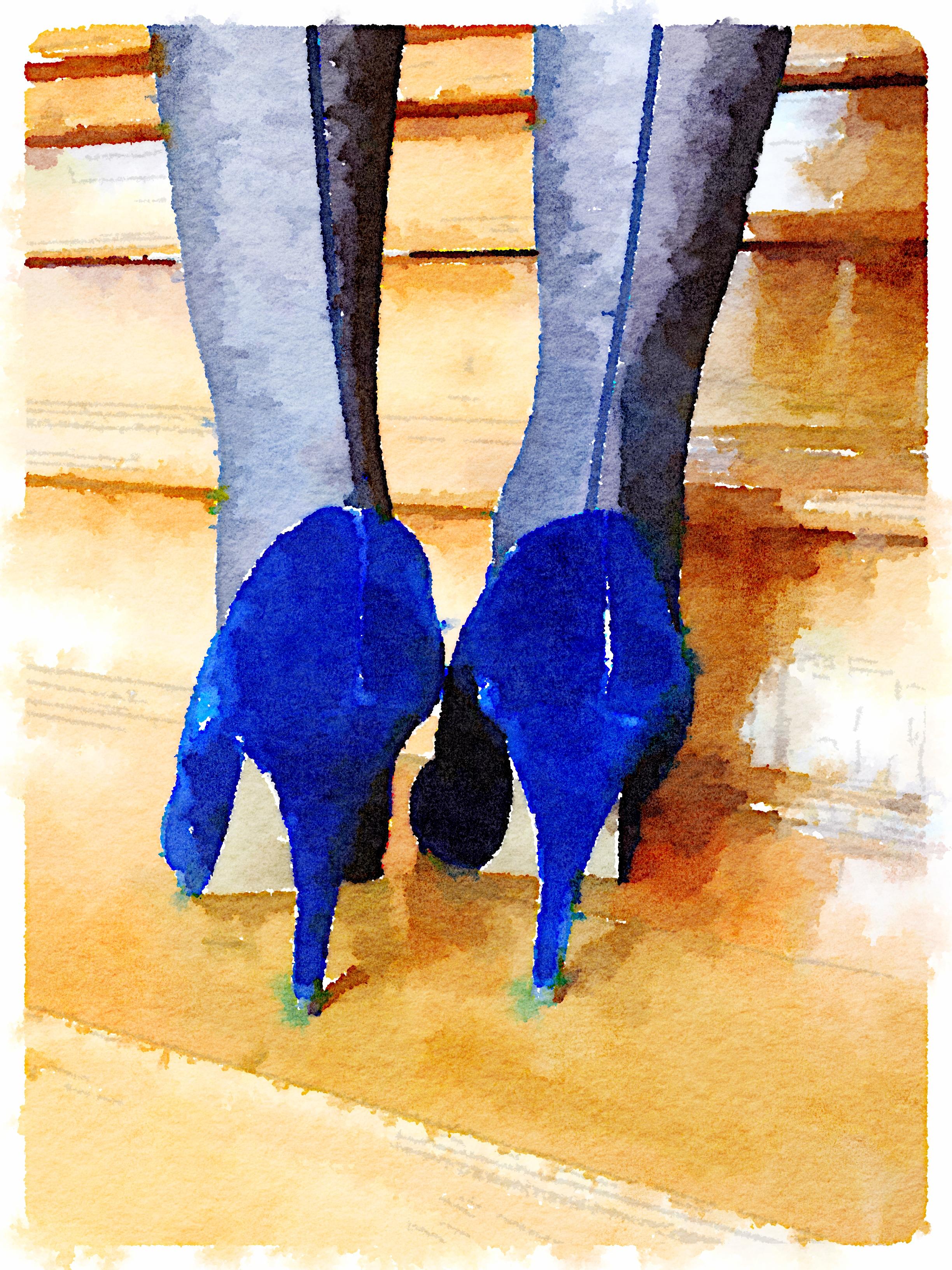 Blue High Heels Art Print
