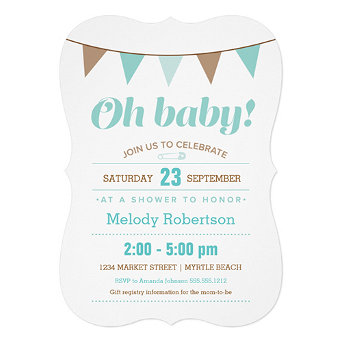 Blue Bunting Baby Shower   Choose shape & paper