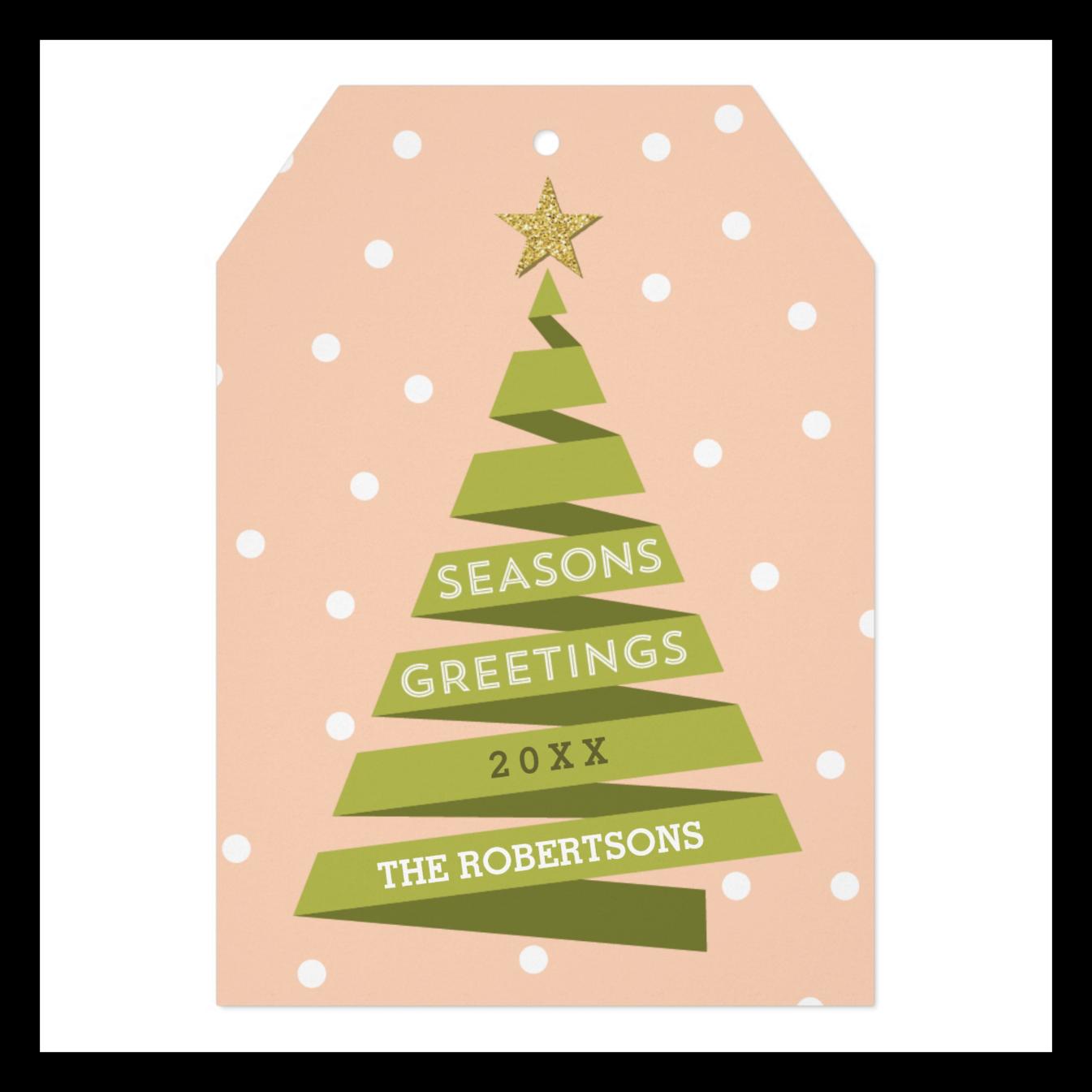 Ribbon Tree Tag Style Holiday Card