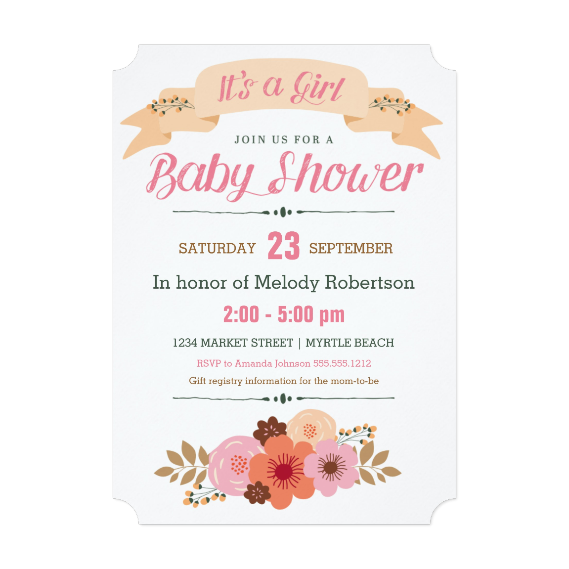Rustic Floral Baby Shower   5 x 7 Invitation