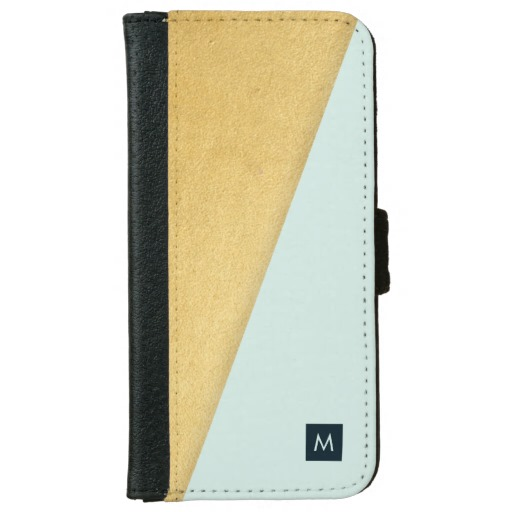 Monogram Faux Gold & Aqua Wallet Case
