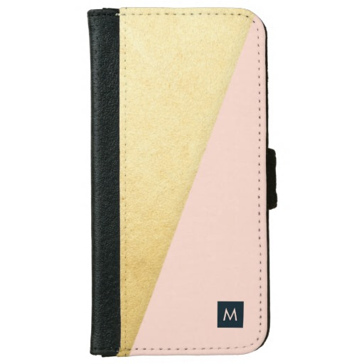 Monogram Faux Gold & Pink Wallet Case