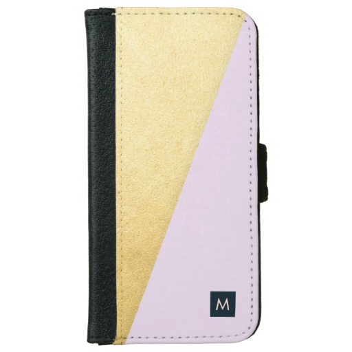Monogram Faux Gold & Lavender Wallet Case
