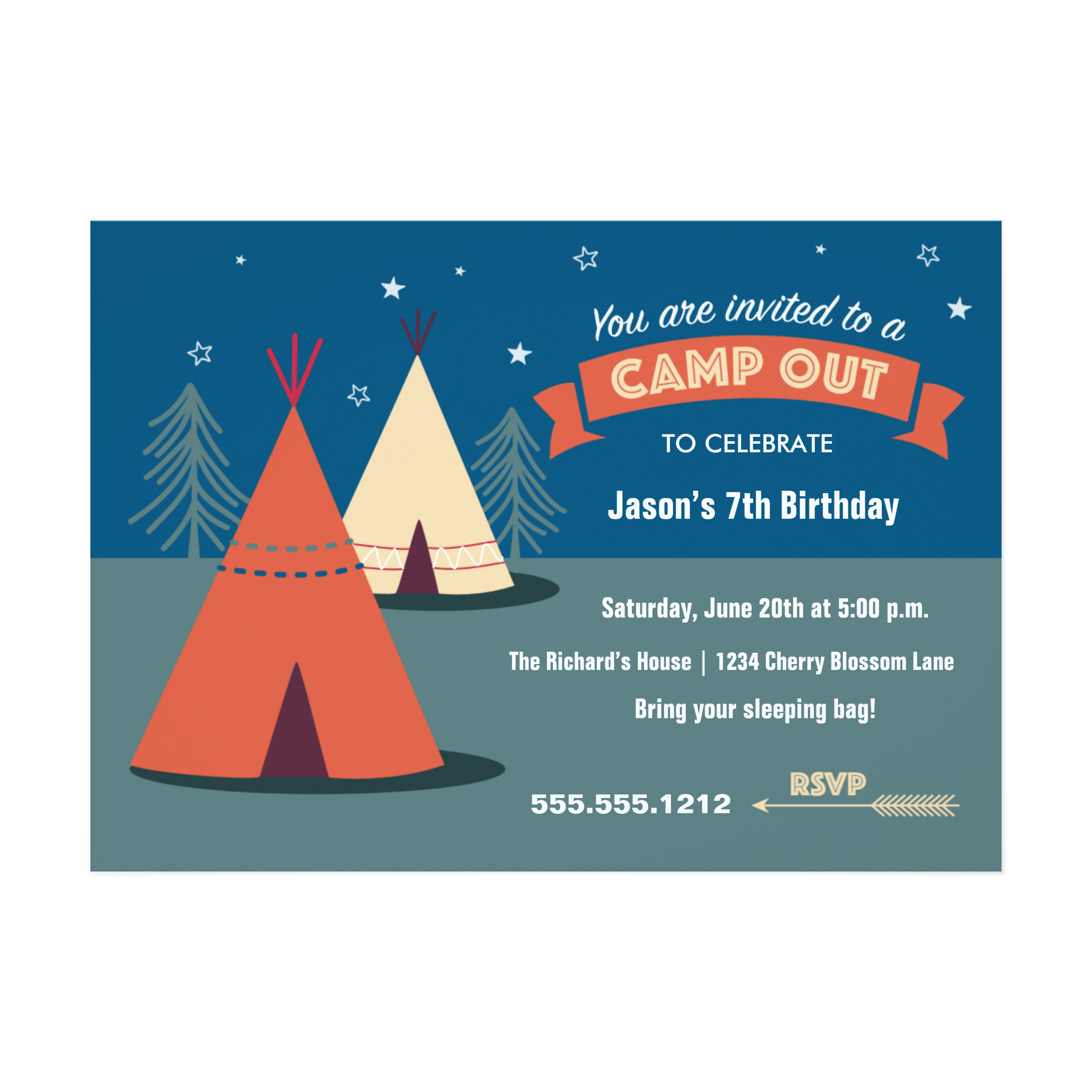 Camp Out Party Invitation