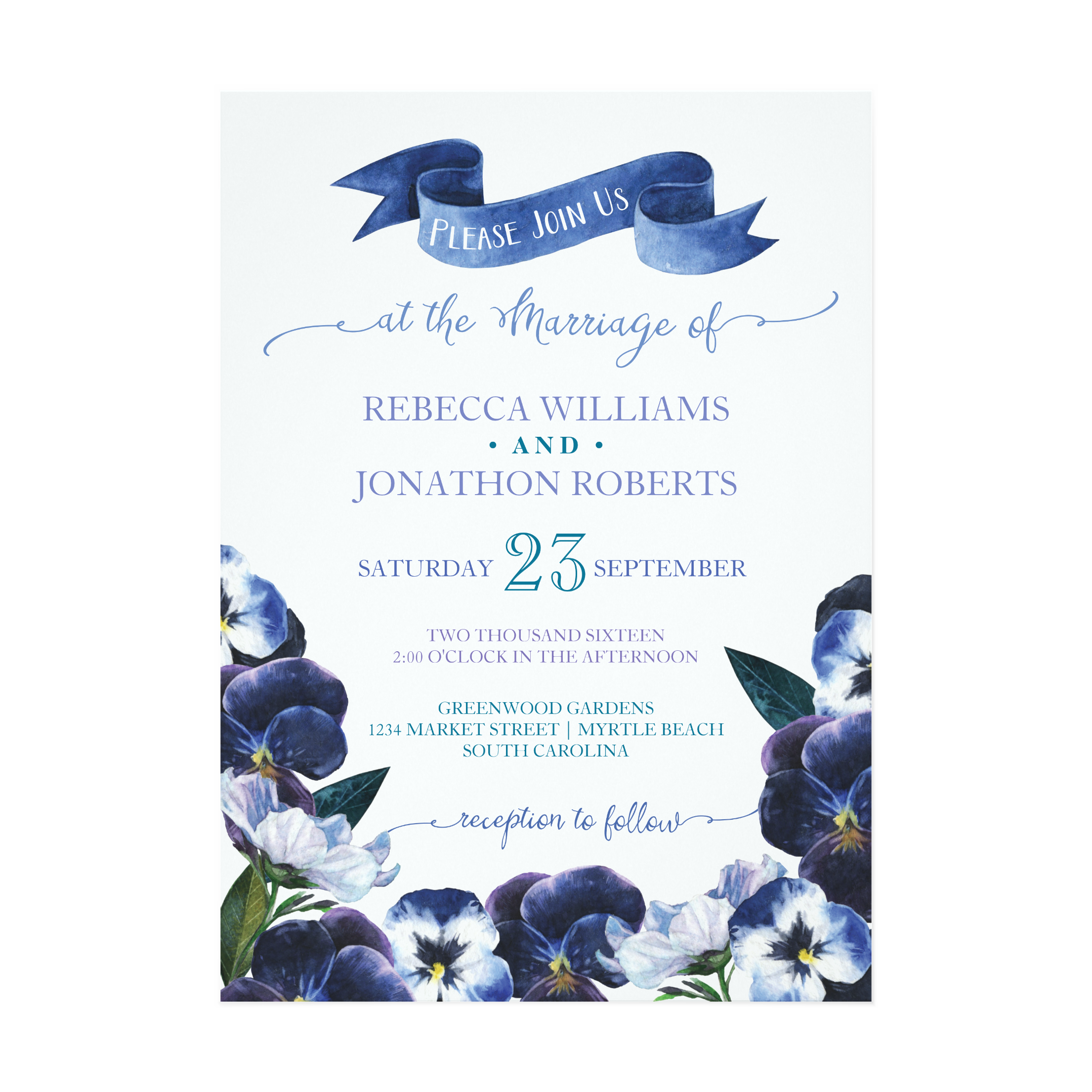 Painted Pansies Wedding Collection
