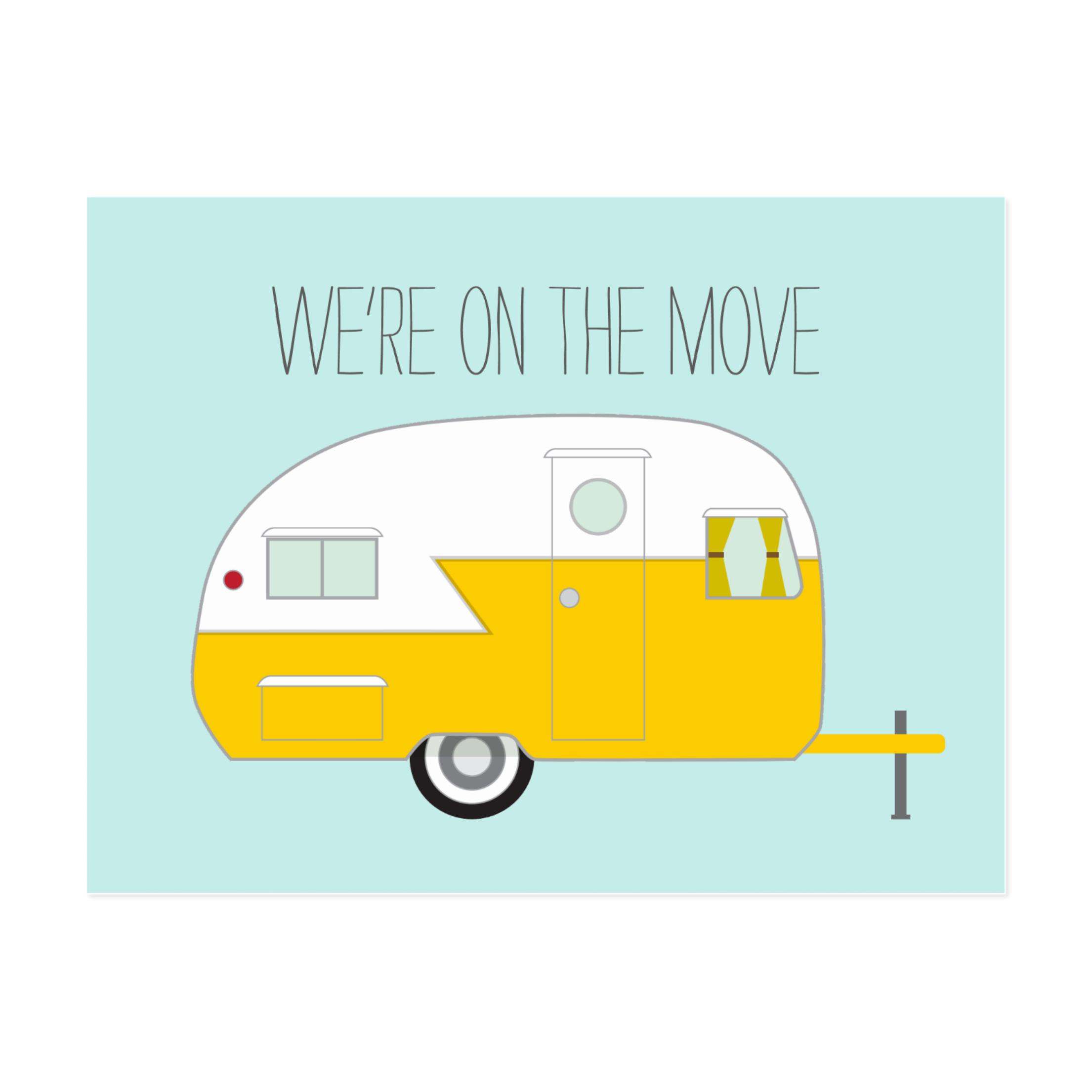 Vintage Camper Moving Postcard
