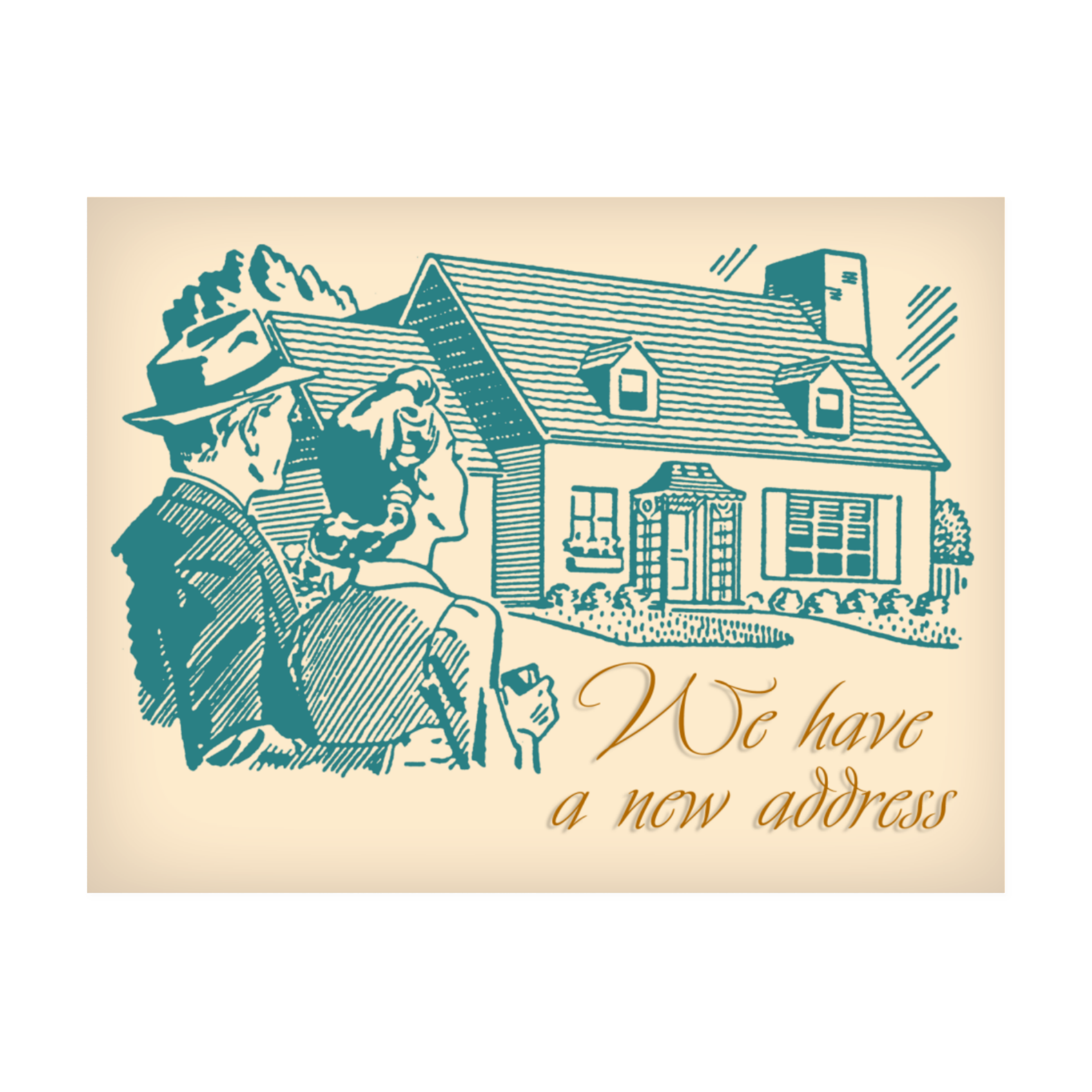 Retro House Change of Address Postcard