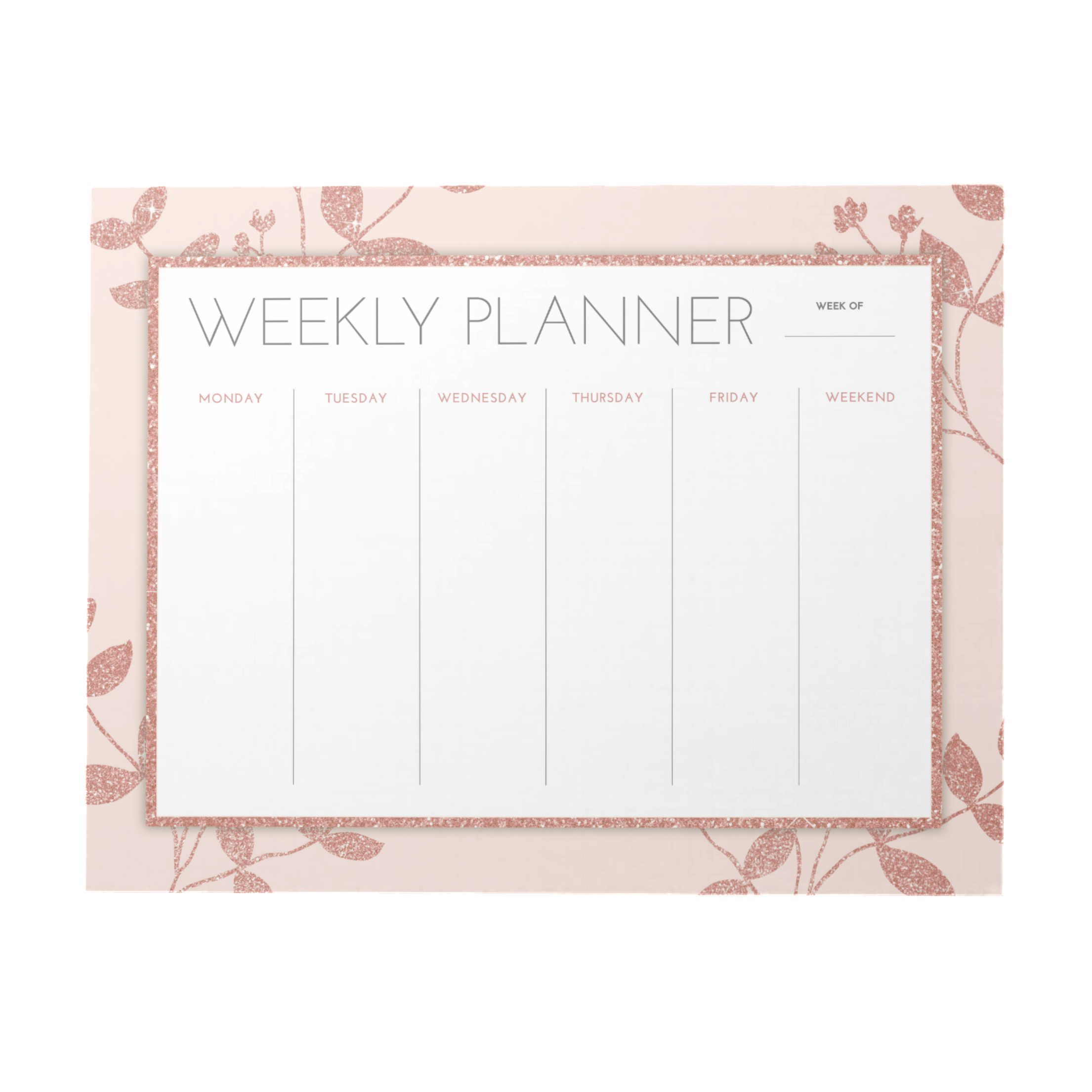 Rose Gold Weekly Planner | 40 Pages