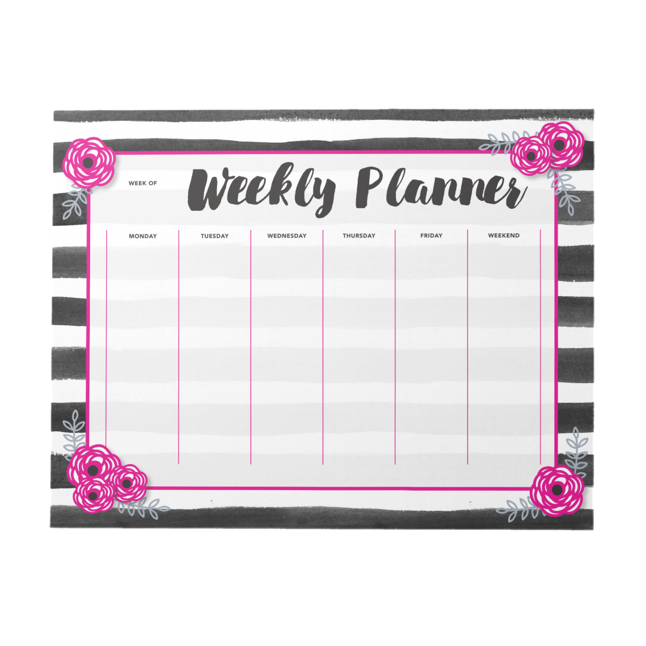 Hot Pink & Black Weekly Planner | 40 Pages