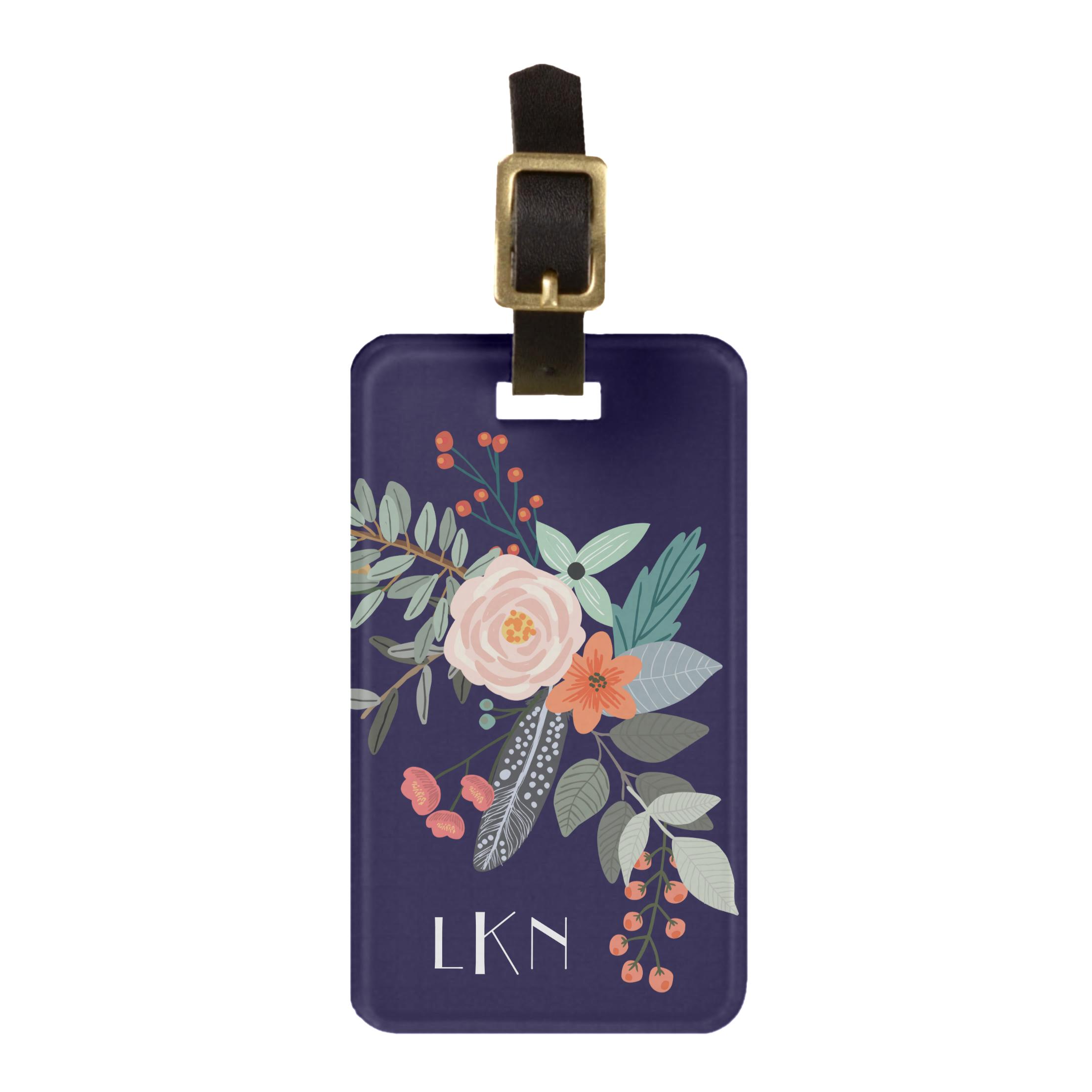 Monogram Botanical Luggage Tag