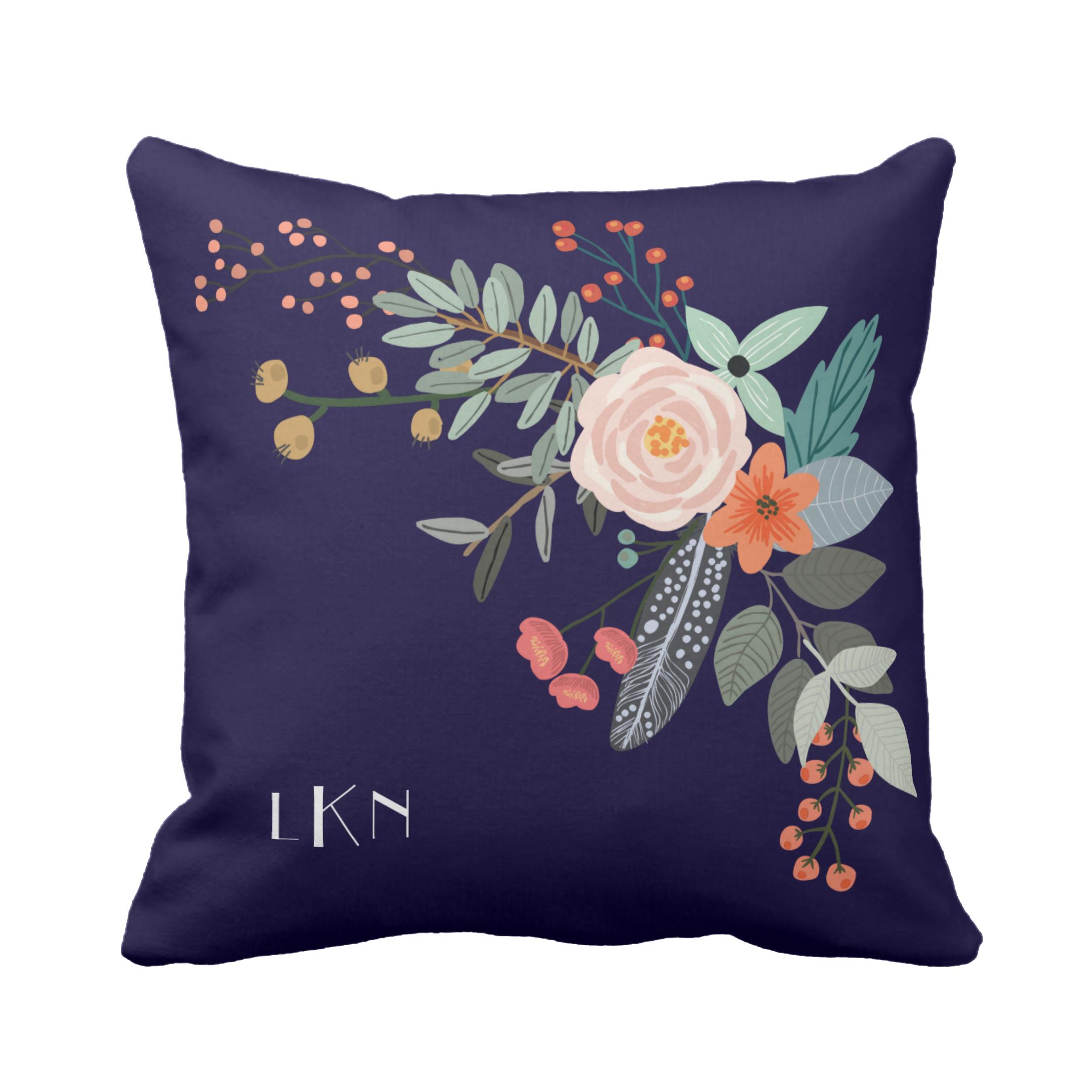 Monogram Botanical Pillow